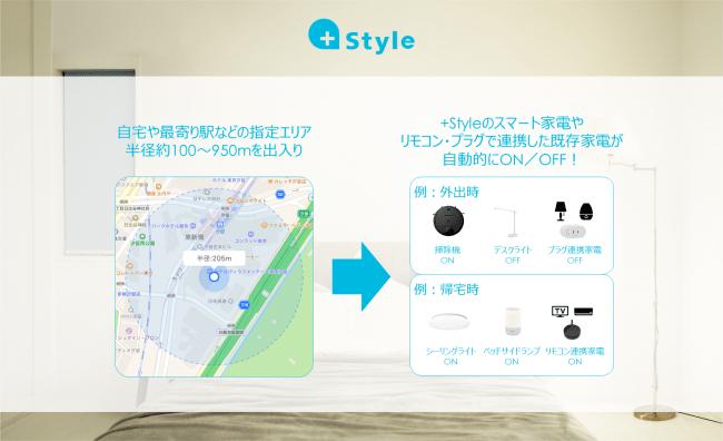 +Style、スマホのGPS位置情報と連携して家電をコントロールできる新機能を提供開始