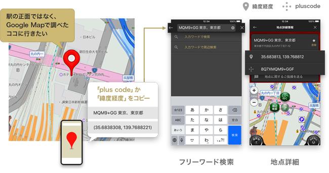 カーナビアプリ「カーナビタイム」がGoogleのplus codeと緯度・経度による地点検索に対応