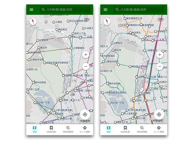 バス専用ナビアプリ「バスNAVITIME」、バス路線図が道路形状に沿った表示に対応