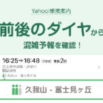 「Yahoo!乗換案内」、前後のダイヤが確認できる画面に「混雑予報」の表示を開始