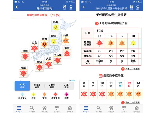 ウェザーニュース、1kmメッシュの熱中症危険度情報をアプリで提供開始